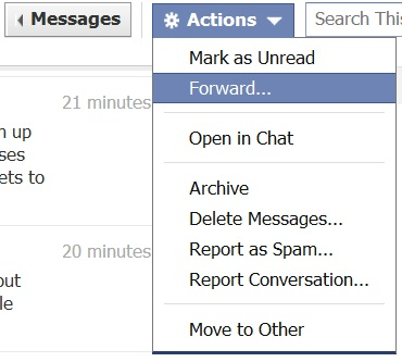 facebook message forwarding