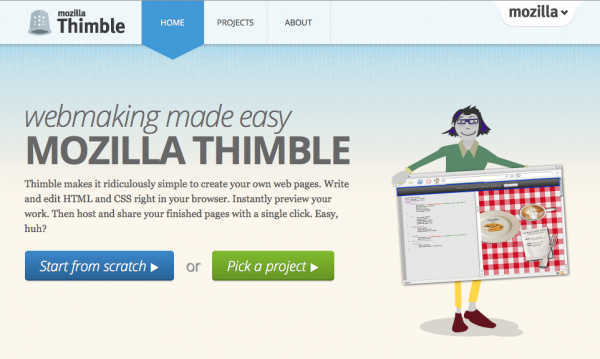 Mozilla Introduces Thimble, Webmaking Made Easy
