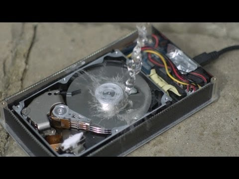 hard drive in slow mo