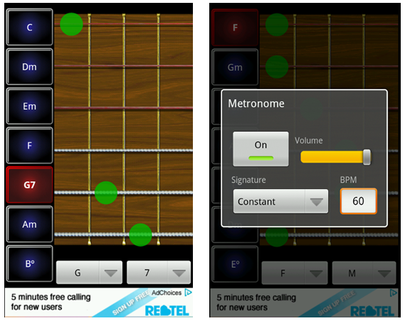 Robotic guitarist android app