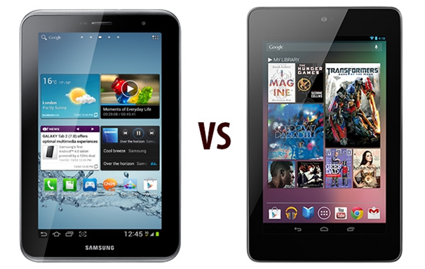 Best 7 Inch Android Tablet: Samsung Galaxy Tab 2 vs. Google Nexus 7 3G
