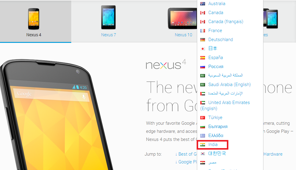 Google Nexus 4, 7 and 10 Now Have an India Option