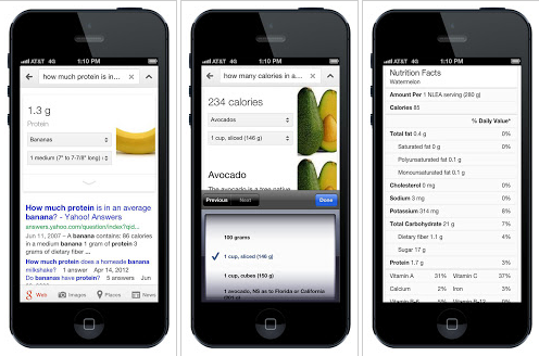 Google Adds Nutritional Facts About 1000 Foods to Search Results