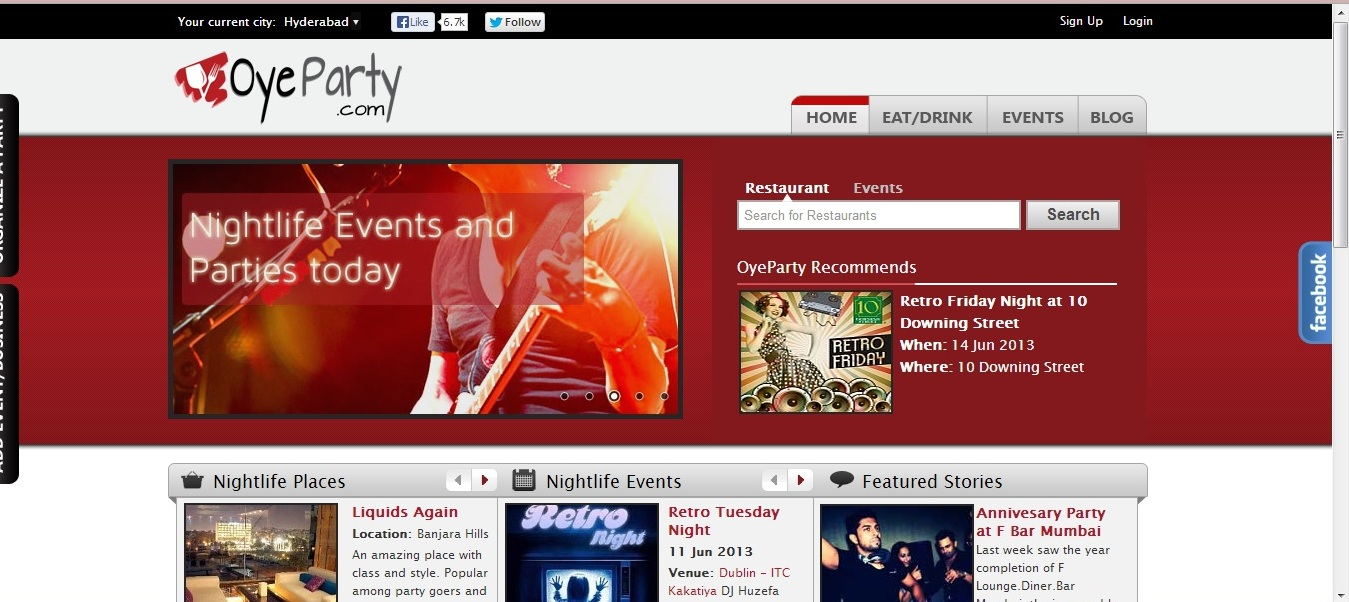 OyeParty HomePage