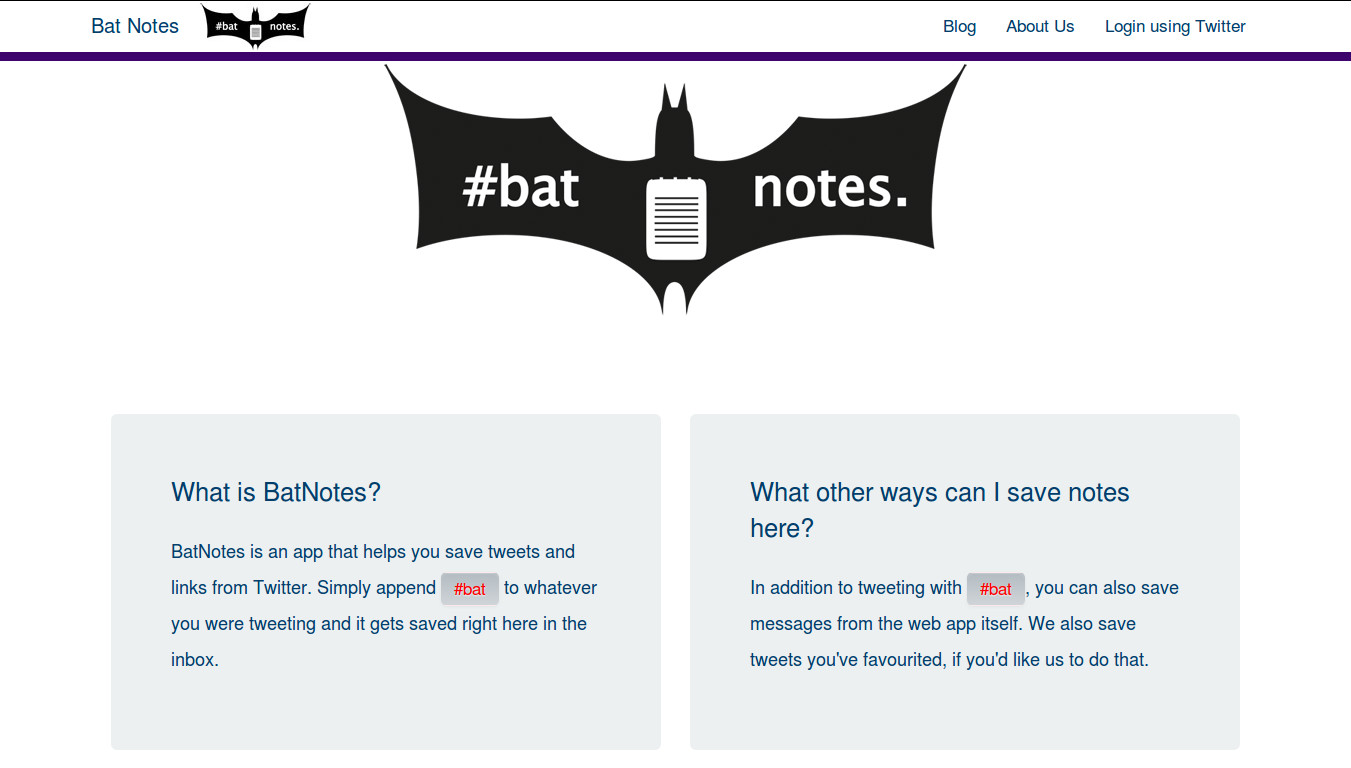 BatNotesApp - Let the #bat save your tweets