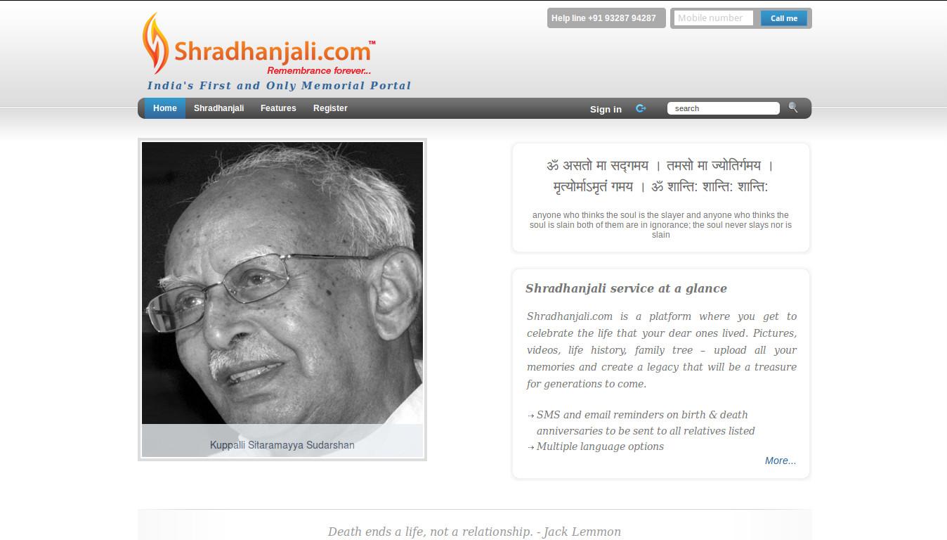 Shradhanjali - An Online Memorial Portal