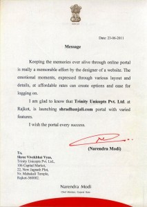 shradhanjali appreciation letter from hon chief minister 213x300 Shradhanjali   An Online Memorial Portal