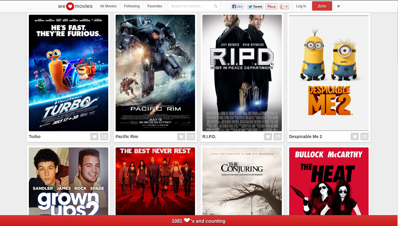 WeHeartMovies - Create Collection of your Favorite Movies