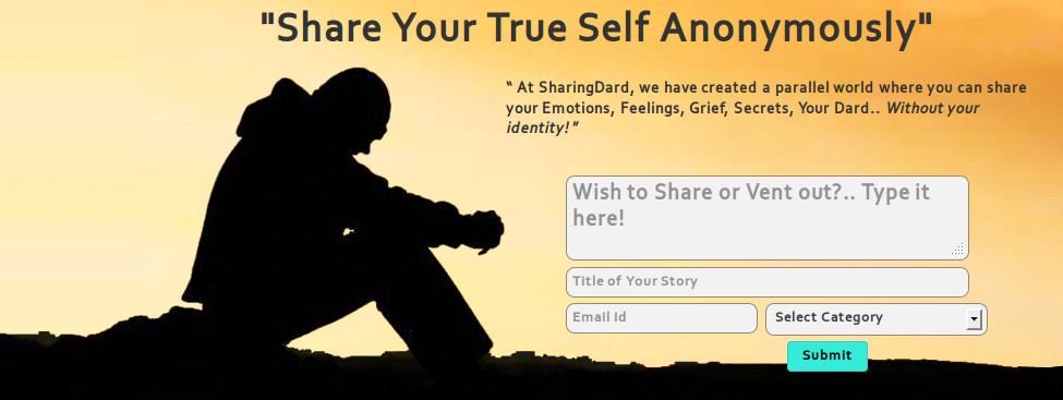 SharingDard helps you vent your feelings anonymously and feel better instantly!