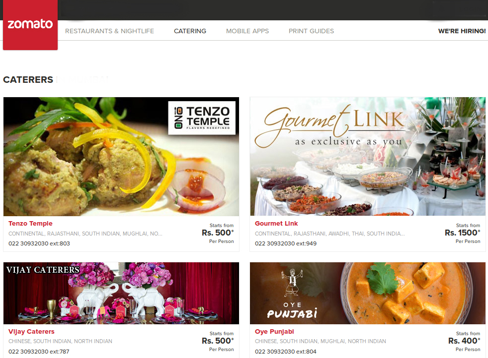 Zomato Launches Catering Section for Delhi, Bangalore and Mumbai