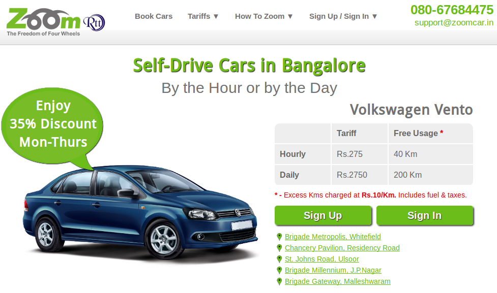 zoomcar 2 ZoomCar Raises $1.6 Million in Funding   Wants to become the ZipCar of India