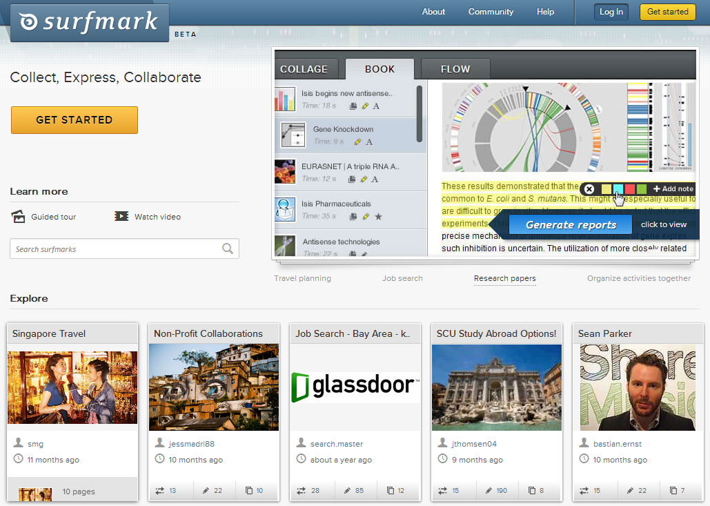 Save your research on the Web with SurfMark