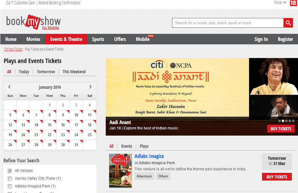 bookmyshow Top 10 Ticketing Platforms in India
