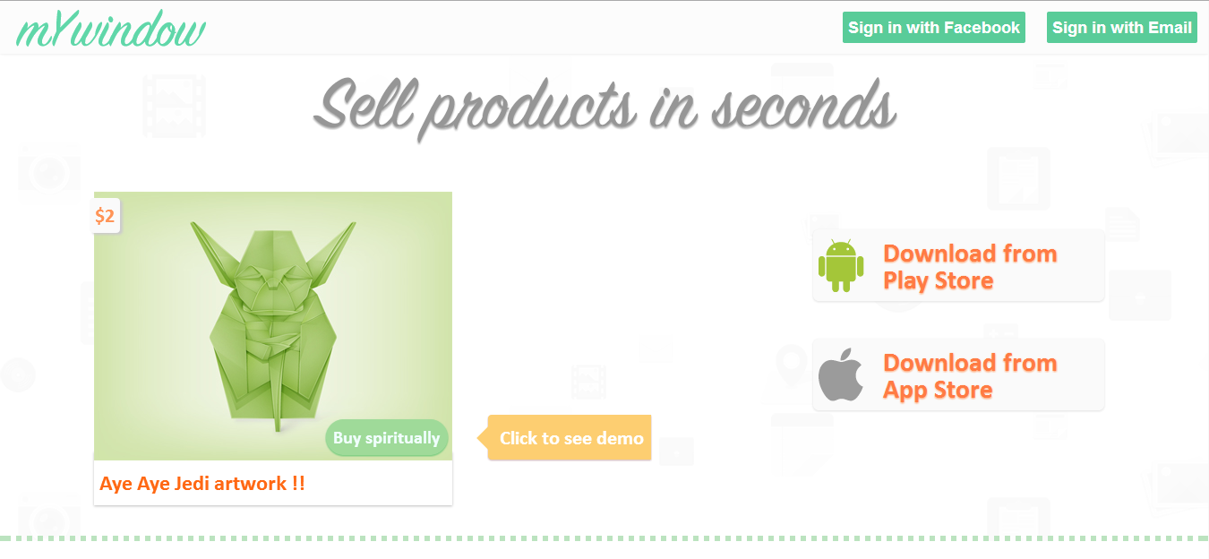 mYwindow, a Mobile First Selling Platform helps you sell anything with a Click