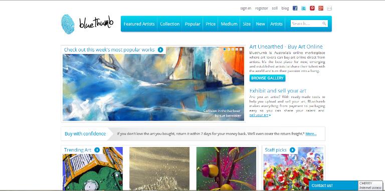 bluethumb.com.au homepage