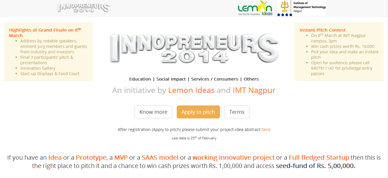 Innopreneurs gets 150+ Ideas so far, Last date for registration is 26th Feb