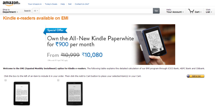 kindle photo 720x354 Kindle Is Now Available At EMI Starting from Rs 500; Valid Only for 2 Weeks