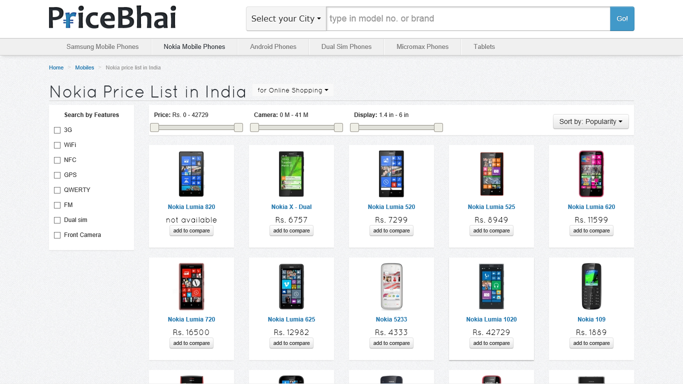 Pricebhai - Location based price search engine, also helps get the best price online