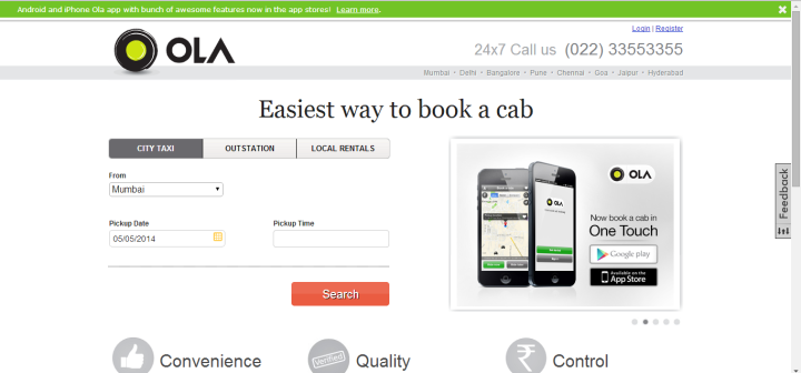 olacabs 720x336 Olacabs to offer cabs at FLAT 50% fares in Delhi during the two day auto strike